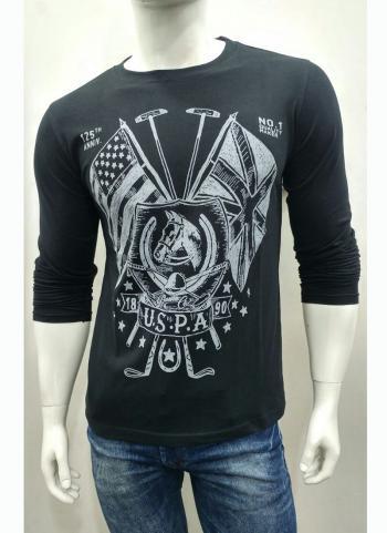 Refreshing Black Cotton Casual Wear Plain T-Shirts