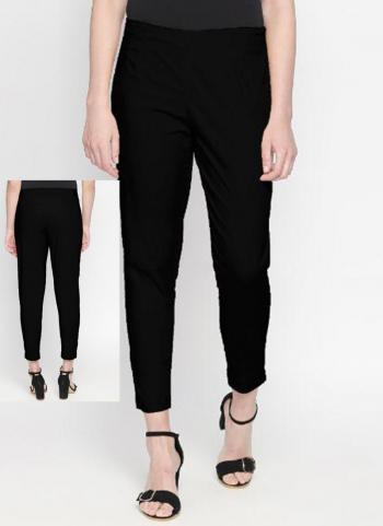 Black Cotton Lycra Regular Wear Plain Pant