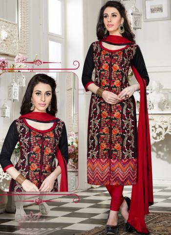 Buy Regular Wear Black Cotton Embroidery Work Churidar Suit