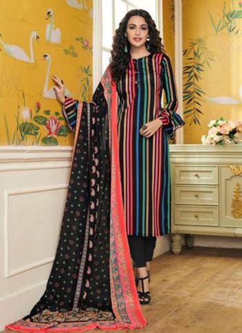 Black Crepe Daily Wear Printed Work Churidar Suit