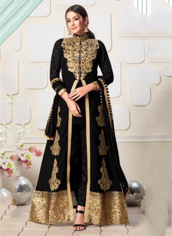 Black Faux Georgette Festival Wear Embroidery Work Salwar Suit