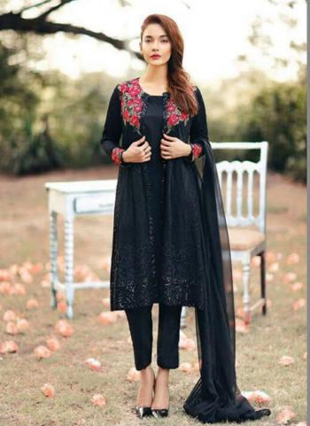 Black Faux Georgette Party Wear Embroidered Work Straight Suit