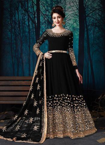 Black Faux Georgette Wedding Wear Embroidery Work Anarkali Suit