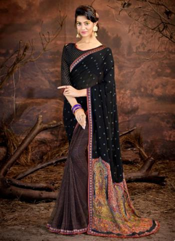 Black Georgette Daily Wear Printed Work Saree