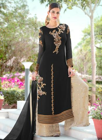 Black Georgette Festival Wear Embroidery Work Palazzo Suit