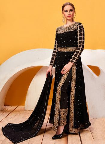 Black Georgette Festival Wear Embroidery Work Salwar Suit