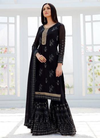 Black Georgette Wedding Wear Embroidery Work Sharara Suit