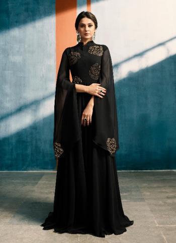 Black Georgette Wedding Wear Handwork Gown