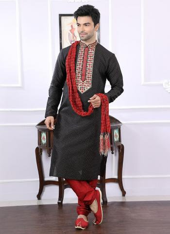 Black Jacqaurd Festival Wear Embroidery Work Kurta Pajama
