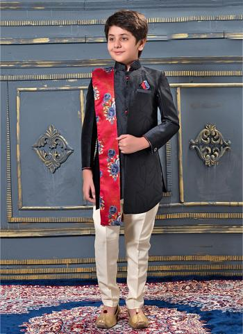 Black Jacqaurd Party Wear Plain Kids Kurta Pajama