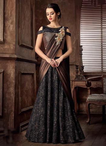 Glamorous Reception Wear Black Jacqaurd Sequins Work Lehenga Choli