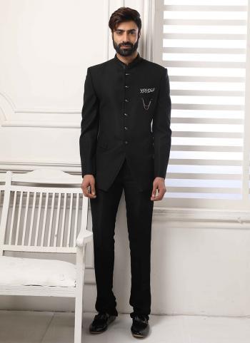Jodhpuri Black Party Wear Fancy Work Jacket And Pant