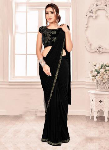 Black Lycra Party Wear Hand Work Saree