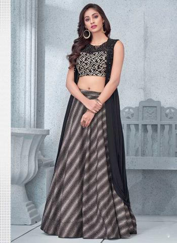 Pretty Party Wear Black Lycra Thread Work Lehenga Choli