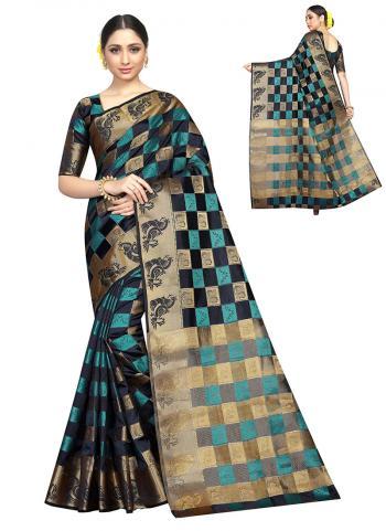 Black Nylon Art Silk Festival Wear Checks Printed Work Saree