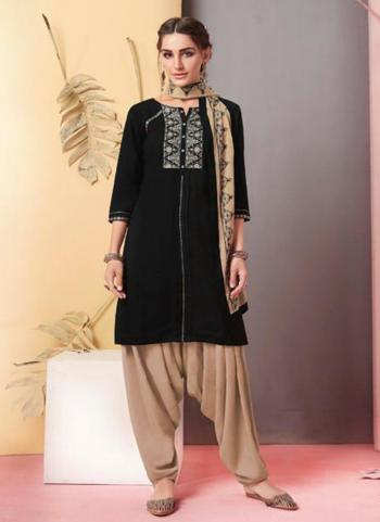 Black Rayon Casual Wear Embroidery Work Ready Made Patiala Suit