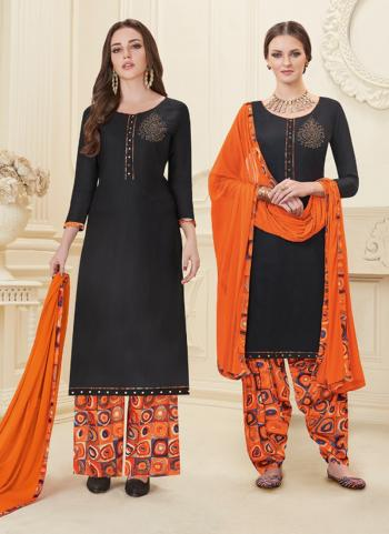 Black Rayon Daily Wear Lace Work Straight Salwar Suit