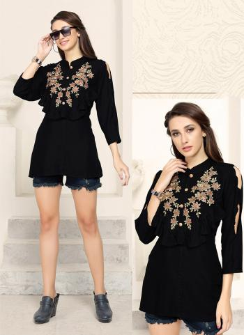 Black Rayon Party Wear Embroidery Work Top