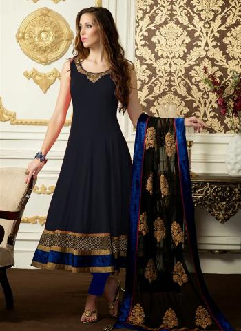 Black Satin Embroidery Work Regular Wear Anarkali Suit