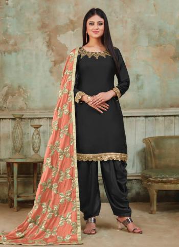 Black Satin Festival Wear Khatli Work Patiala Suit