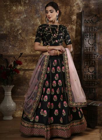 Black Silk Bridal Wear Thread Work Lehenga Choli