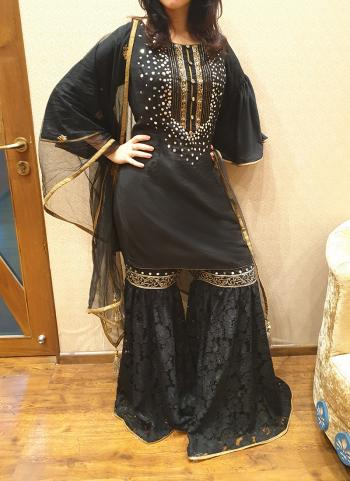 Black Silk Festival Wear Mirror Work Sharara Suit
