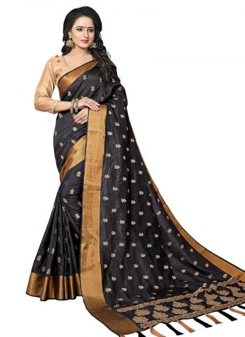 Black Silk Wedding Wear Butti Work Saree