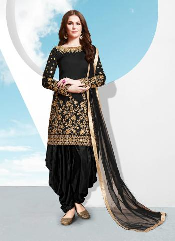 Black Silk Wedding Wear Mirror Work Patiala Suit