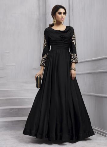 Black Tapeta Silk Festival Wear Embroidery Work Anarkali Style