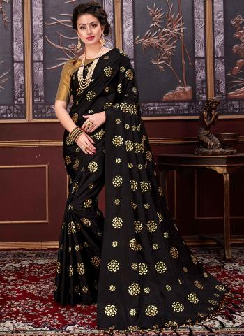 Black Two Tone Net Casual Wear Rubber Printed Saree