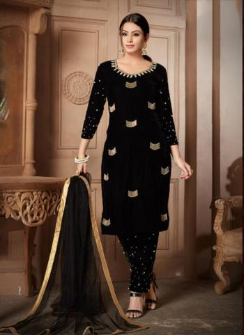 Black Velvet Party Wear Hand Work Churidar Style