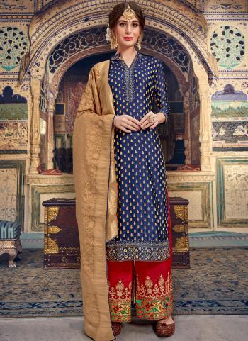 Blue Banarasi Wedding Wear Jacquard Palazzo Suit
