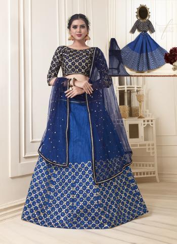 Blue Banglori Silk Party Wear Thread Work Lehenga Choli