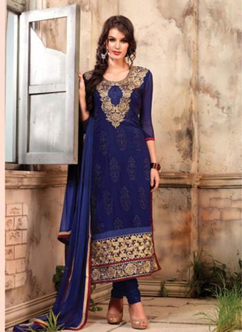 Blue Bulk Designer Salwar Suit With Georgette