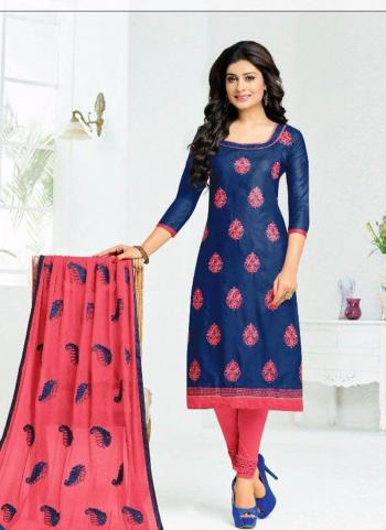Blue Cotton Daily Wear Embroidery Work Churidar Style