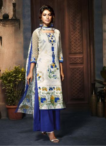 Blue Cotton Daily Wear Printed Work Plaza Salwar Suit