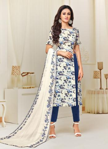 Blue Cotton Satin Daily Wear Printed Work Churidar Style