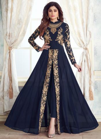 Latest Party Wear Blue Georgette Embroidery Work Anarkali Suit