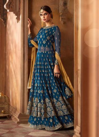 Blue Georgette Reception Wear Embroidery Work Sharara Style