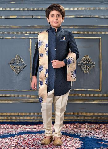 Blue Jacqaurd Party Wear Plain Kids Kurta Pajama
