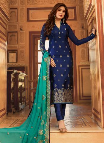 Blue Jacqaurd Party Wear Weaving Churidar Suit