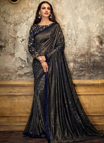 Blue Lycra Party Wear Coading Work Saree