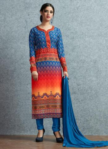 Blue Muslin Cotton Daily Wear Printed Work Churidar Suit
