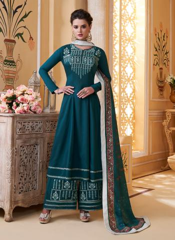 Latest Party Wear Blue Muslin Embroidery Work Palazzo Suit