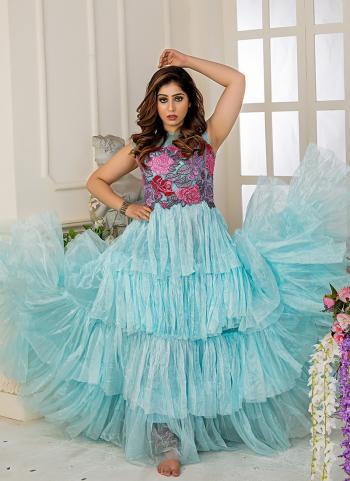 Latest Party Wear Blue Net Hand Work Gown