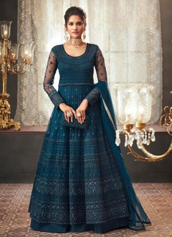 Blue Net Reception Wear Embroidery Work Anarkali Suit
