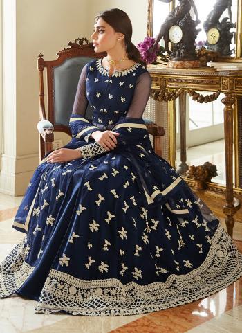 Blue Net Traditional  Wear Embroidery Work Anarkali Suit