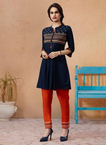 Blue Rayon Daily Wear Embroidery Work Kurti With Bottom