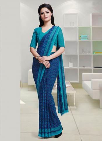 Blue Reniel Regular Wear Fancy Printed Work Saree