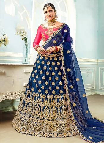 Blue Satin Party Wear Embroidery Work Lehenga Choli